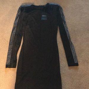 Shoulder padded long sleeve studded velvet dress